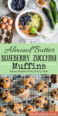 Almond Butter Blueberry Zucchini Muffins {Paleo, Gluten Free, Dairy-free} — The Natural Nurturer. Sub Monk Fruit for honey/maple syrup for keto. Healthy Muffin Recipes, Healthy Muffins, Healthy Baking, Baby Food Recipes, Gluten Free Recipes, Whole Food Recipes, Healthy Snacks, Breakfast Recipes, Cooking Recipes