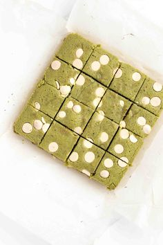 white chocolate matcha brownies.