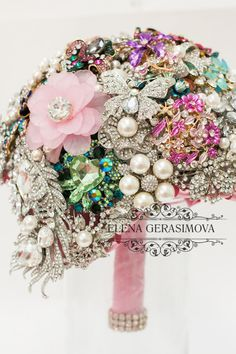 Brooch Bouquet. diamant silver pink blue green Bouquet, Unique Wedding Bridal Bouquet