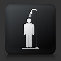 Black Square Button with Shower Icon vector art illustration