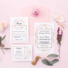 Geometric Wedding Invitation Rose Gold Copper Neutral Editable Modern PDF Template DIY Suite Digital Download