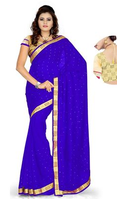 Own this blue color georgette embroidered sari. The ethnic lace and resham work within sari adds a sign of elegance statement with your look. Upon request we can make round front/back neck and short 6 inches sleeves regular saree blouse also. #RoyalBlueCasualSari