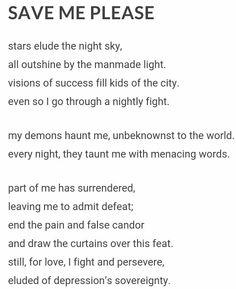 Title: SAVE ME PLEASE |  depression sadness poem suicide love
