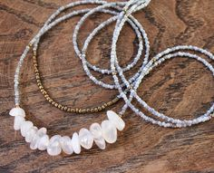 Long double agate and glass beads necklace. Collar doble by eendar, €11.90