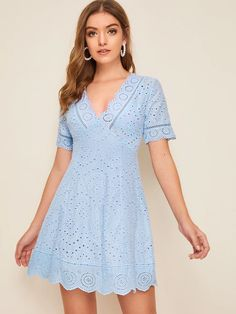 To find out about the Plunging Neck Scallop Trim Bustier Schiffy Dress at SHEIN, part of our latest Dresses ready to shop online today! Dress Outfits, Casual Dresses, Fashion Dresses, Short Sleeve Dresses, Bustiers, Deep V Neck Dress, Eyelet Dress, Embroidery Dress, Latest Dress