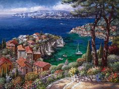 Cote D'Azur, Hand Embellished Giclee on Canvas by Sung Sam Park Costa, Paintings I Love, Art Paintings, Park Art, Boynton Beach, Fine Art Auctions, Korean Artist, City Art, View Image