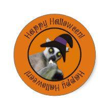 Scary Lemur Funny Happy Halloween Circle Stickers