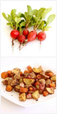 Really Rad Roasted Radishes (+ carrots & potatoes)