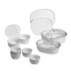 #CorningWare® French White® 14-Piece Bakeware Set - Use these favorite pieces every day for smooth baking to serving. Classic French White® coordinates easily with your favorite dinnerware.