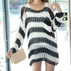 Casual Loose Stripe Crochet Sweater - Black