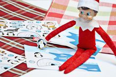 This easy Elf on the Shelf idea is awesome! Have your elf deliver stickers and winter scenes from @orientaltrading for a great holiday craft. #orientaltrading #elfontheshelf #ad