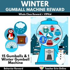 This Winter themed gumball machine student incentive adds a new twist to your gumball machine reward! Each gumball features a winter themed gumball to reward your students. Your students will LOVE adding these fun gumballs to the machine as their earn their reward, including snowflakes, snowman, sl... Behavior Rewards, Classroom Rewards, Behavior Management, Gumball Image, Whole Class Rewards, Student Incentives, Reward Ideas, Reward Yourself, Reward System