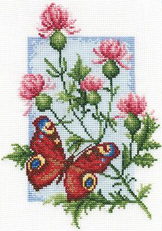 Cross stitch kit featuring flowers and a butterfly. This cross stitch kit contains presorted thread, 14 count white Aida fabri 123 Cross Stitch, Cross Stitch Beginner, Cross Stitch Fruit, Butterfly Cross Stitch, Cross Stitch Heart, Beaded Cross Stitch, Cross Stitch Animals, Cross Stitch Flowers, Cross Stitch Embroidery