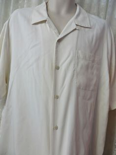 TOMMY BAHAMA SHIRT SILK Button Front Camp XL Ivory/White #TommyBahama #ButtonFront
