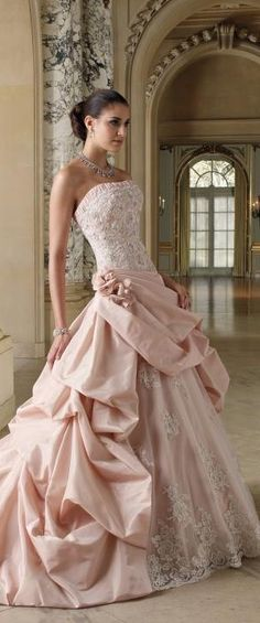 gorgeous pink ruffle wedding dress