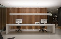 Reception desk style option workplace / office / reception / white / timber wall