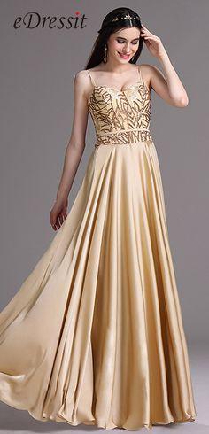 eDressit Gold Spaghetti Sequins Lace Prom Dress