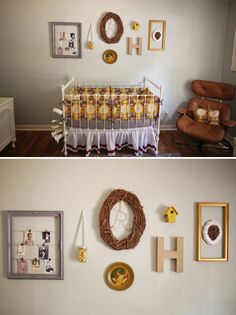 Sweet frames and details in this lovely nursery. Photo by Jesse Leos Photography.