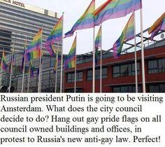 Amsterdam pride for #Putin visit.