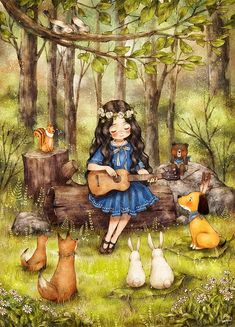 Hey guys, this is an illustrator from South Korea called Aeppol. he is currently illustrating a series called 'Forest Girl's Diary' depicting the everyday life of a young girl wit… Girl Cartoon, Cartoon Art, Poster Print, Forest Girl, Whimsical Art, Pics Art, Cute Illustration, Anime Art Girl, Cute Drawings