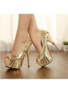 Glamorous Black Flower Print Peep Toe Heels Sparkle Glitter Peep Toe Platform Stiletto Heels