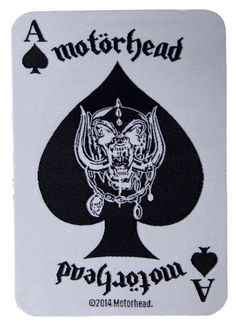 Official Motorhead Iron-on patch measuring approx 100mm x 70mm featuring the lAce of Spades Playing Card design Officially Licensed Merchandise See