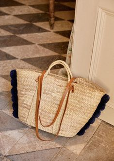Baskets, Striped Tote Bags, Natural Red, Reusable Bags, Parisian Style, Red Stripes, Spring Collection, Small Bags, Leather Handle