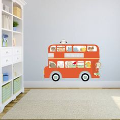 All Aboard Bus Fabric Wall Sticker by Littleprints, the perfect gift for Explore more unique gifts in our curated marketplace. Kids Room Wall Stickers, Nursery Stickers, Childrens Wall Stickers, Bedroom Themes, Nursery Themes, Kids Bedroom, Bedroom Ideas, Blue Bus, Red Bus