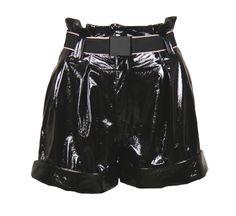 Black vinyl high-waist shorts Removable black belt and pleat detail polyester cotton (lining) Made in Italy Black Belt, High Waisted Shorts, How To Make, Cotton, Women, Fashion, High Wasted Shorts, Moda, Women's