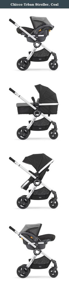 """Chicco Urban Stroller, Coal. The Chico urban is a stylish, 6-in-1 modular stroller solution for your ever-changing baby. With a simple click, baby can ride in car seat, carriage or stroller - facing in towards mom or dad or out to explore the world. Key Fit carrier mode: includes click-in adapter, specifically designed to accept the no. 1-Rated Chico key fit infant car seat with an audible """"click"""". Infant carriage mode: toddler stroller seat converts to carriage for smaller babies, with..."""