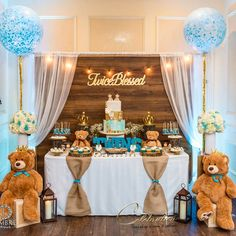 Baby Shower - Twice Blessed rustic Teddy bear (scheduled via www.- Baby Shower - Twice Blessed rustic Teddy bear (scheduled via www. Idee Baby Shower, Baby Shower Backdrop, Shower Bebe, Boy Baby Shower Themes, Baby Boy Shower, Baby Shower Table Set Up, Shower Party, Baby Shower Parties, Baby Shower Garcon