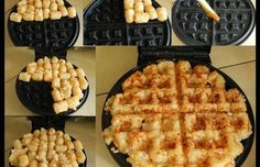Waffle-Iron Hashbrowns – Food Recipes - For complete directions, scroll to directly below the second picture.I NEED a waffle iron now! Even though I don't like waffles. Tater Tot Waffle, Tater Tots, Hashbrown Waffles, Potato Waffles, Savory Waffles, Waffle Maker Recipes, Foods With Iron, Iron Foods, Snacks