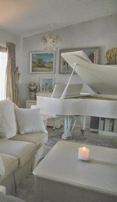 French Cottage living room with white grand piano ~ (our home)