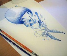 Adolie Day, Crayon bleu + aquarelle, 2011