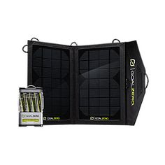 Goal Zero solar panel w/ rechargeable battery back. Charge your batteries right from the sun!