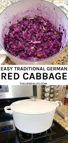 Quick and easy dutch oven recipe for German red cabbage. Also known as Rotkohl or Blaukraut! Slow cook this authentic side dish that pairs with so many dishes in Germany! Braises for about 1 hour using a head of shredded red cabbage, apple, onion, sugar, white vinegar, salt and pepper. Dairy Free Recipes, Vegetarian Recipes, Healthy Recipes, German Red Cabbage Recipes, Easy Vegan Dinner, Best Food Ever, Popular Recipes, Clean Eating Snacks, Slow Cooker Recipes