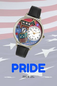 Show your pride and loyalty. Celebrate with a winning attitude through this one-of-a-kind collectible Democrat leather watch!  Whimsical Watches are made by a team of Artists and Graphic Designers using hand-crafted Miniatures. All Miniatures are specially placed under the domed crystal of the watch turning this fashionable watch into a wearable work of art.