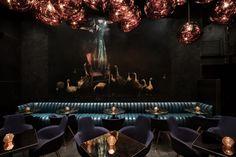 High-end, super cool speakeasy Himitsu in Atlanta, GA. Interiors by Tom Dixon Studio. Very dark & mysterious!