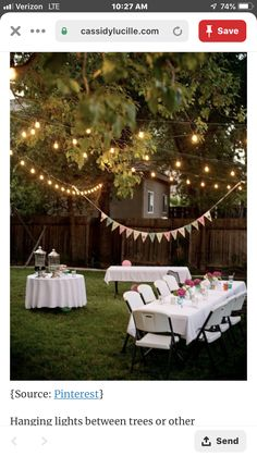 This DIY garden party decoration gives your summer party atmosphere! DIY decoration ideas This DIY garden party decoration gives your summer party atmosphere! Outdoor Graduation Parties, Graduation Party Decor, Outdoor Parties, Garden Parties, Graduation Party Ideas High School, Summer Backyard Parties, College Graduation, Backyard Party Lighting, Patio Lighting