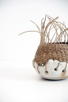 baixa pots by Tracy Wilkinson - cool combination of ceramics and weaving