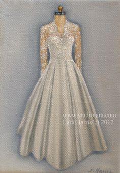 CUSTOM Wedding Dress Illustration Painting in OIL by LARA 11x14. $145.00, via Etsy.