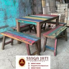 kursi Kafe Rustik Minimalis Kayu Jati Berkualitas - Singa Jati Outdoor Tables, Outdoor Decor, Picnic Table, Outdoor Furniture, Modern, Home Decor, Trendy Tree, Decoration Home, Room Decor