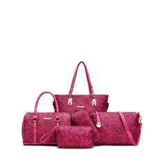 Weave PU Leather Metal Shoulder Bag
