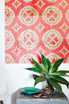Love the idea of using a few kick-ass tiles to create artwork for an empty space.