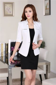 Blazer Feminino Its Best Attire Business 15 Business Dresses, Business Casual Outfits, Office Outfits, Work Fashion, Asian Fashion, Fashion Black, Mode Outfits, Fashion Outfits, Fashion Ideas
