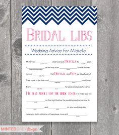Printable Chevron Bridal Libs Mad Libs Bridal by MintedGreyDesigns,