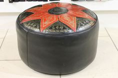 Vintage 1960s Leather Sherborne Footstool/Pouffe with Moroccan Inspired Graphics