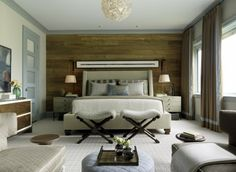 I just love this classic room! The wall board behind the bed is so Earthy! Probably one of my favorites-looks like I need to redecorate my bedroom!!