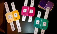 place value sliders out of paint chip strips