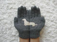 Dog Gloves, Doxie Gloves, Dachshund, Steel Grey Gloves, Unisex Gloves, Animal, Sausage